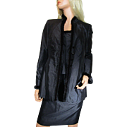 Vintage ESCADA 3-piece Set Black Blazer Skirt Tank Top MINK Fur Trim Size 36 or US 6