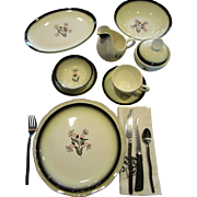 Mid Century Dinnerware 66 Pc. Set Plates Bowls Cups Creamer Sugar Bowl Dishes Platter Black & White w Pink Flowers EXCELLENT