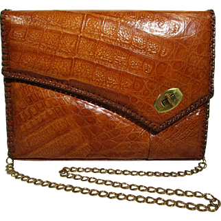 Genuine Alligator Purse Vintage Tan Shoulder Bag USA