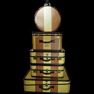 "Set of 4 OSHKOSH Luggage ""Chief"" 1930s Exceptional"