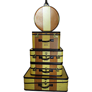"OSHKOSH Luggage ""Chief"" SET of 5 Luxury Suitcases Exceptional 1930s"