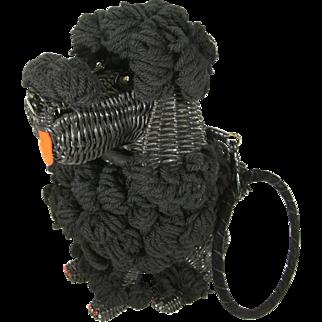 RARE Vintage Wicker Poodle Purse w Yarn Hair Rhinestone Eyes & Toes Jet Black