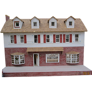 "HUGE Wooden Dollhouse 48""L Traditional Home"