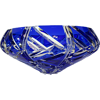 Czech Republic Bohemian Cobalt Blue Cut Crystal Large Bowl