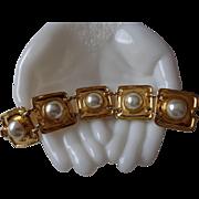 Vintage Park Lane Large Imitation Pearl Gold Tone Bracelet