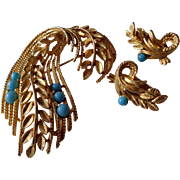 Wheat Sheaf Pin,Earrings Gold Tone/Numbered