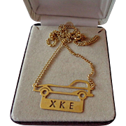 Gold Tone Outline of Jaguar Car XKE Necklace