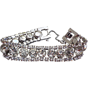 Lovely Large Rhinestones Galore on Silver Tone Bracelet Vintage