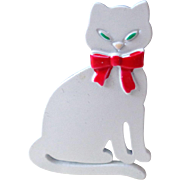 Pure White Kitty JJ Brooch Vintage