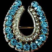 Vintage Horseshoe Pin - Blue/Clear Rhinestones