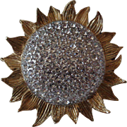 Gold Tone Rhinestone Set Sunflower Brooch by Carolee on Original Card Vintage