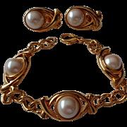 Monet Faux Pearl Bracelet & Earring Set Vintage