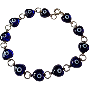 Royal Blue Glass Hearts in 925 Silver Bracelet Vintage