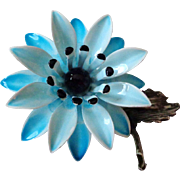 Two Tone Blue with Black Vintage Flower Pin