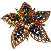 Vintage Coro Five Point Flower Teal Blue Rhinestones Brooch