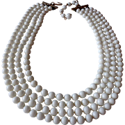 White Glass Beaded Four Strand Necklace  Vintage