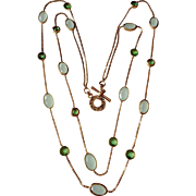 Spring Green and Gold Tone Two Strand Monet Necklace Vintage