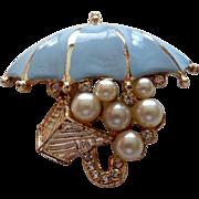 Pastel Blue Faux Pearl Umbrella Brooch Vintage
