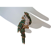 Parrot Gold Tone with Emerald Green and Clear Rhinestones Pin Vintage