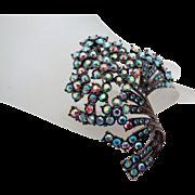 Blue Pink Rhinestone Sparkle Spray of Tiny Flowers Brooch Vintage