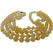 Lemon Yellow Dimpled Givre Glass Beaded Necklace Vintage to Re-Purpose