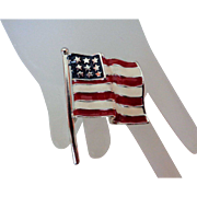Stars and Stripes Pin on Silver Tone Metal Brooch