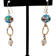 Blue Cloisonne Faux Pearl Dangle Pierced Earrings Vintage