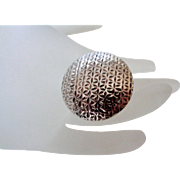 Large Round Textured 925 Silver Cocktail Ring Vintage