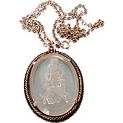 Clear Glass Intaglio of Lady and Dog Necklace Vintage