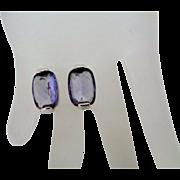 Swarovski Crystal Light Purple on Silver Tone Pierced Earrings