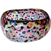 Vintage Large Clear Lucite Bangle with Multi Colored Spots