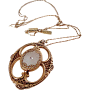1928 Oval Framed Camphor Style Gold Tone Necklace Vintage