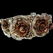 Silver Tone Clamper Bracelet with Coppertone Roses AB Stones Vintage