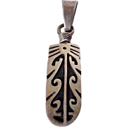 South Western Style Curved Sterling Pendant Vintage
