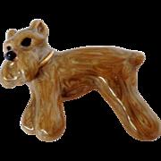 Caramel White Swirl Enamel on Gold Tone Scottie Dog Pin