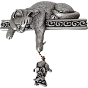 JJ Pewter Cat and Mouse Pin Vintage