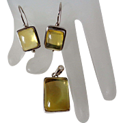 Citrine Pendant and Earrings in 925 Silver Vintage