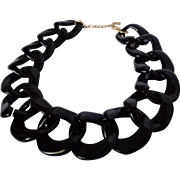 Large Black Links Plastic Necklace Vintage