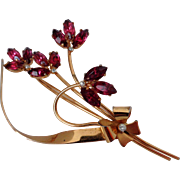 Sterling Craft Coro Fuchsia Rhinestone Flowers Brooch Vintage