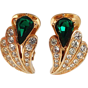 Vendome Emerald Green Glass and Clear Rhinestone Clip Back Earrings Vintage