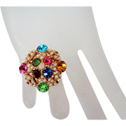 Multi Colored Rhinestones Tiny Faux Pearl Beads Round Pin Vintage