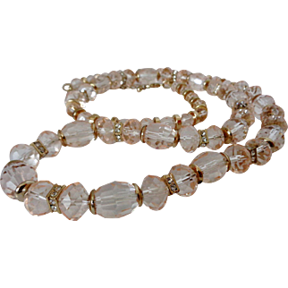 Champagne Colored Faceted Crystal Beads Necklace Vintage