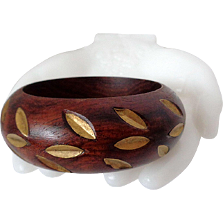 Wood Bangle with Cut Out Gold Tone Leaf Design Vintage