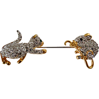 Cat and Mouse Rhinestone Stick Pin Vintage