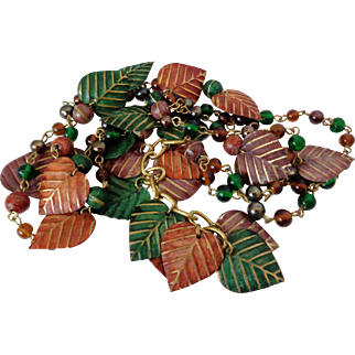 Fall Colored Metal Leaves and Plastic Beads Long Necklace Vintage