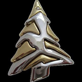 Zig Zag Silver Gold Tone Christmas Tree Liz Claiborne Vintage