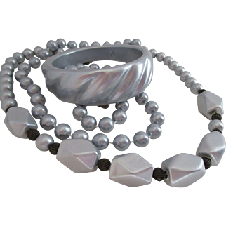 Two Necklace Bangle Set Metallic Gray Plastic Vintage