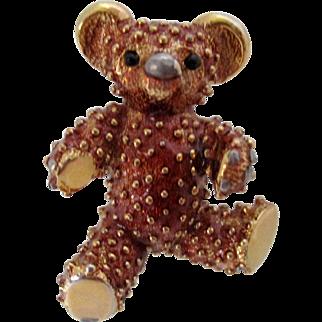 D'Orlan Gold Tone Teddy Bear Brooch Vintage