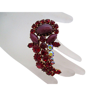 Austria Signed Ruby Red Rhinestone Art Glass Flower Brooch Vintage