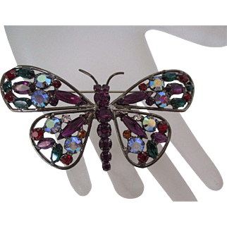 Large Butterfly Multi Colored Rhinestone  Brooch Vintage
